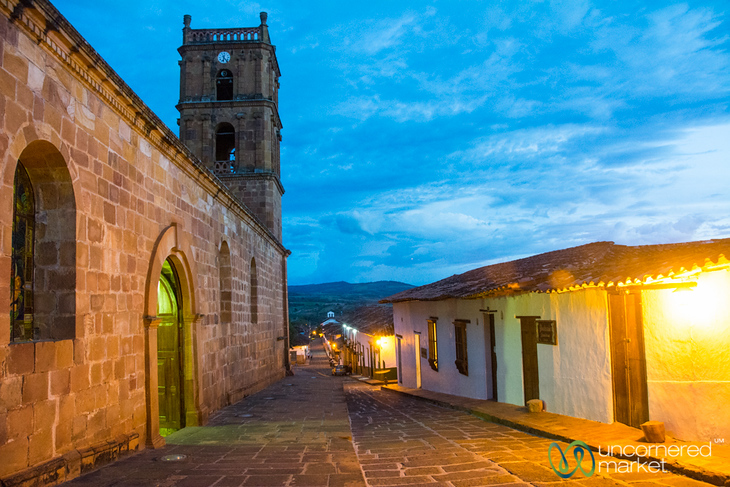 Night Falls in Colonial Town of Barichara, Colombia