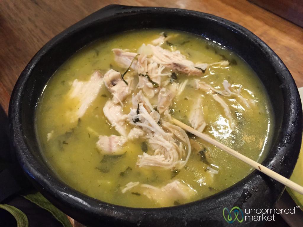 Ajiaco (Chicken Stew) at La Puerta Falsa- Bogota, Colombia