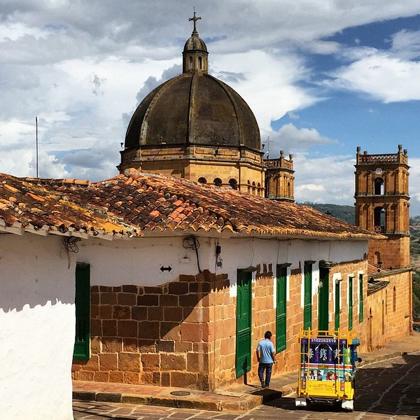 Still life with tuk-tuk. Yes, Colombia has tuk-tuks (I'm sure there's a local word, but haven't asked yet). Colombia also has plenty of churches, too. This one (Catedral de la Inmaculada Concepción) seemed to hold service every night. One of the few events you could depend on in the sleepy, yet oh-so-photogenic town of Barichara. via Instagram http://ift.tt/1HwWULY