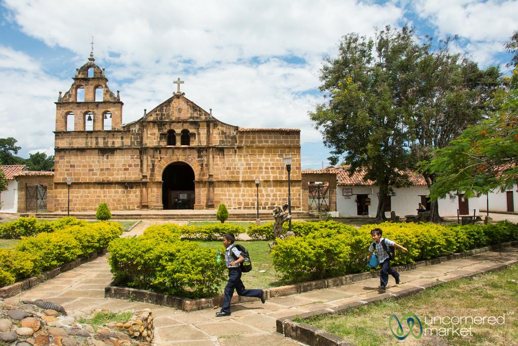 Kids Run Across Main Square in Guane, Colombia