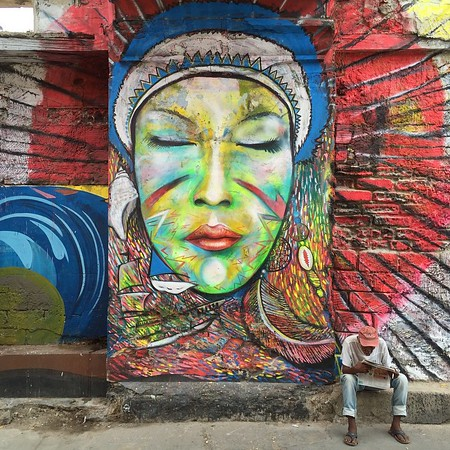 Street art and local scene in Getsemani, Cartagena