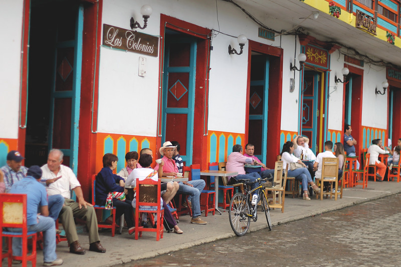 The whole town gathers around the plaza around 5pm to drink coffee and beer. July 2017