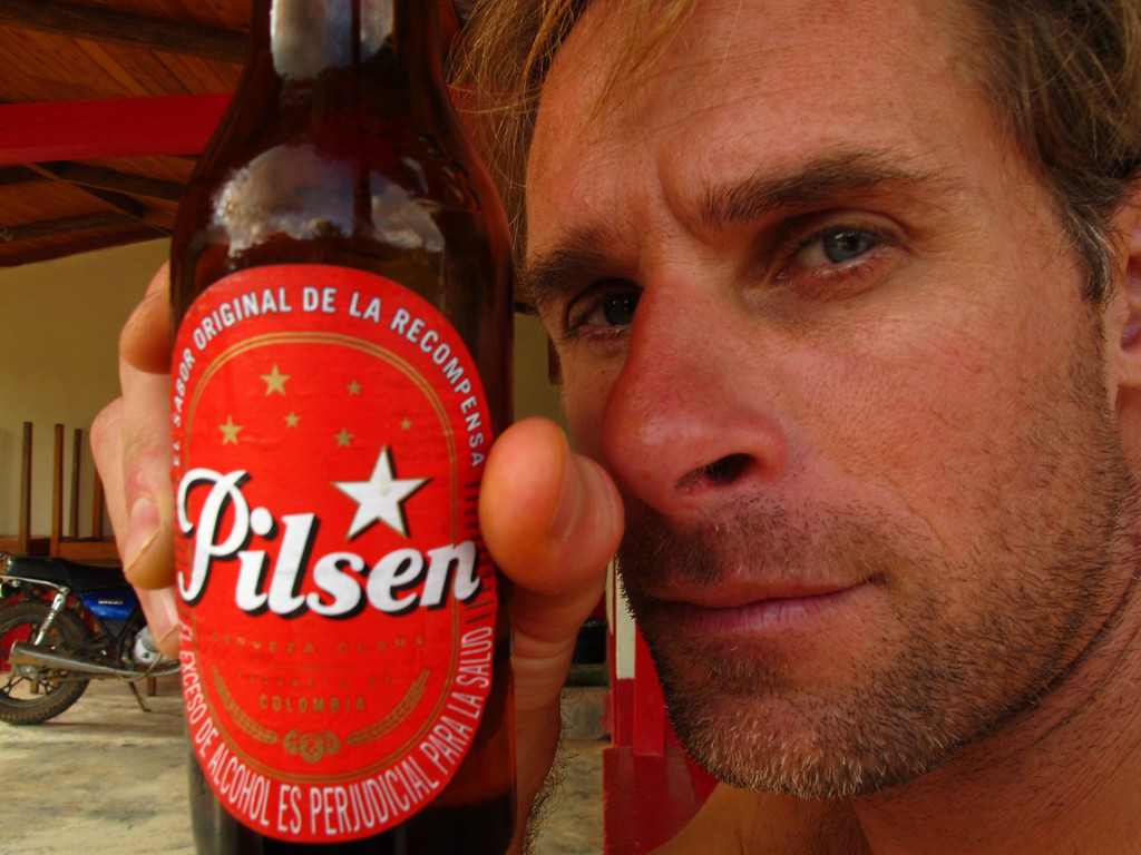 """Cooling off with a Pilsen For the story, check out: <a href=""""http://www.nomadbiba.com/wp/2011/06/maceo-searching-for-climbing-off-the-beaten-path/""""> Maceo – Searching For Climbing Off The Beaten Path</a>"""