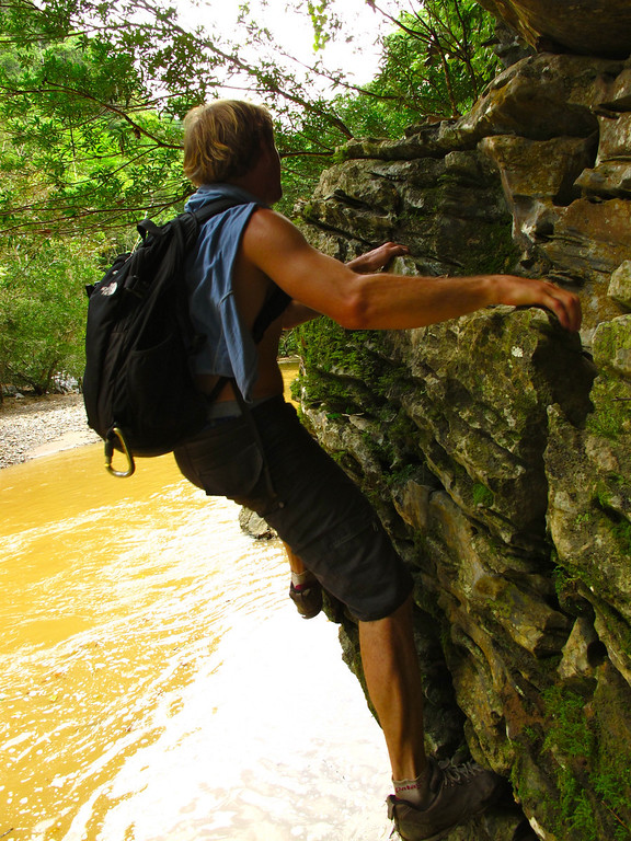 """Traversing over the riverFor the story, check out: <a href=""""http://www.nomadbiba.com/wp/2011/06/maceo-searching-for-climbing-off-the-beaten-path/""""> Maceo – Searching For Climbing Off The Beaten Path</a>"""