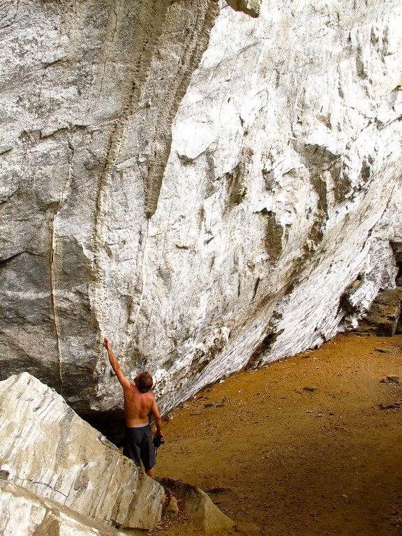 """Checking out the wall For the story, check out: <a href=""""http://www.nomadbiba.com/wp/2011/06/maceo-searching-for-climbing-off-the-beaten-path/""""> Maceo – Searching For Climbing Off The Beaten Path</a>"""