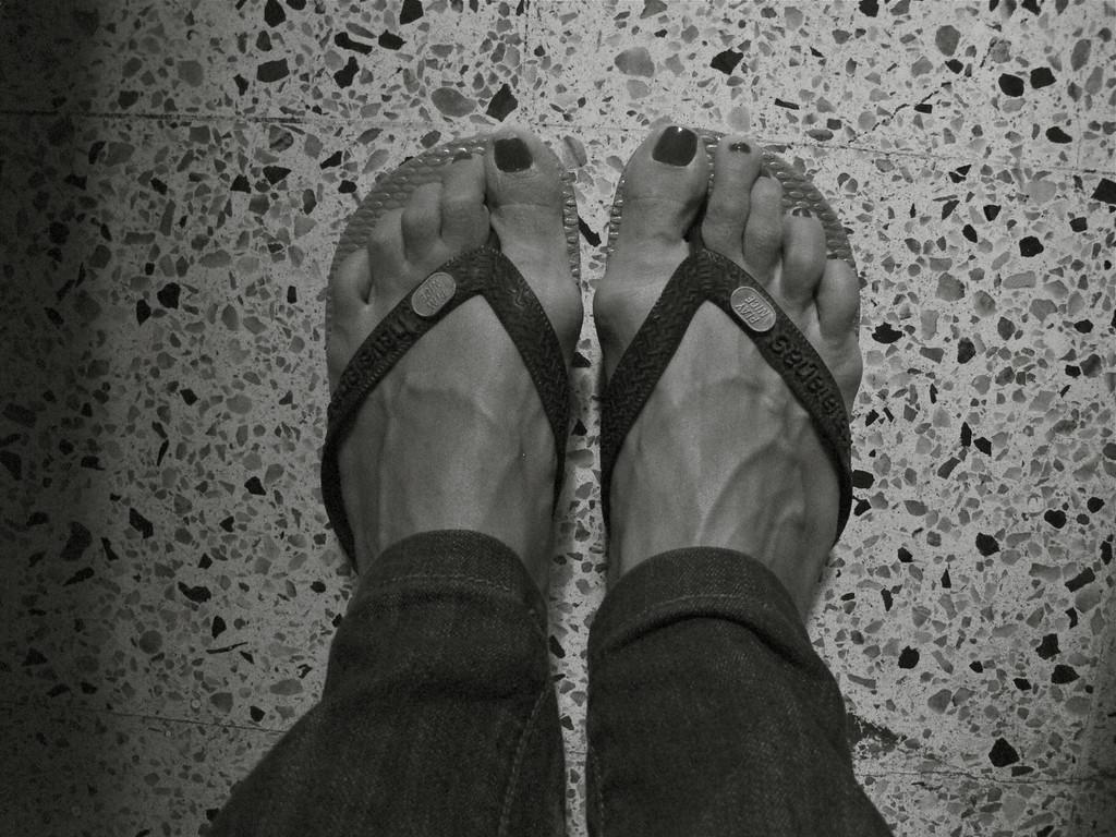 My flip flops get fixed in Hostal Medellin