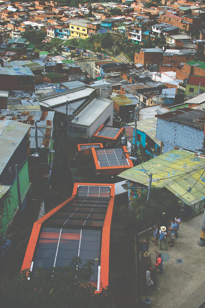 The escalators of Comuna 13. This barrio was once known as the most dangerous community due to its high homicide rates. This was due to its location, close to the main highway, making guns and drugs accesible.