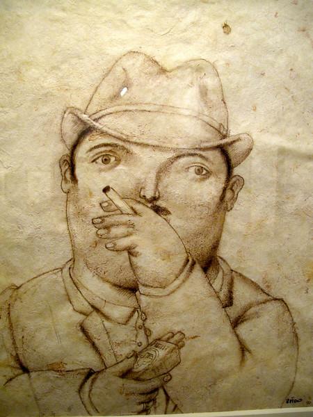 Hombre fumando<br /> Museo Botero de Bogota