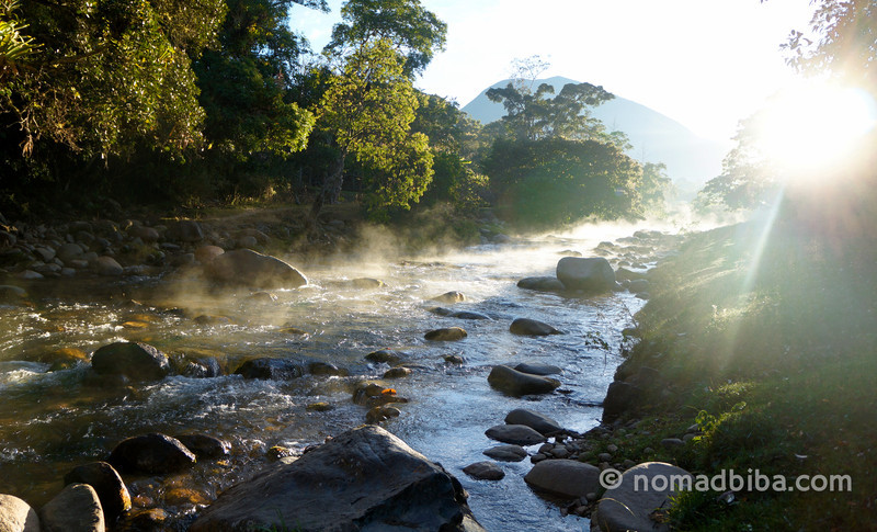 Sun rising over the river in Nabusimake