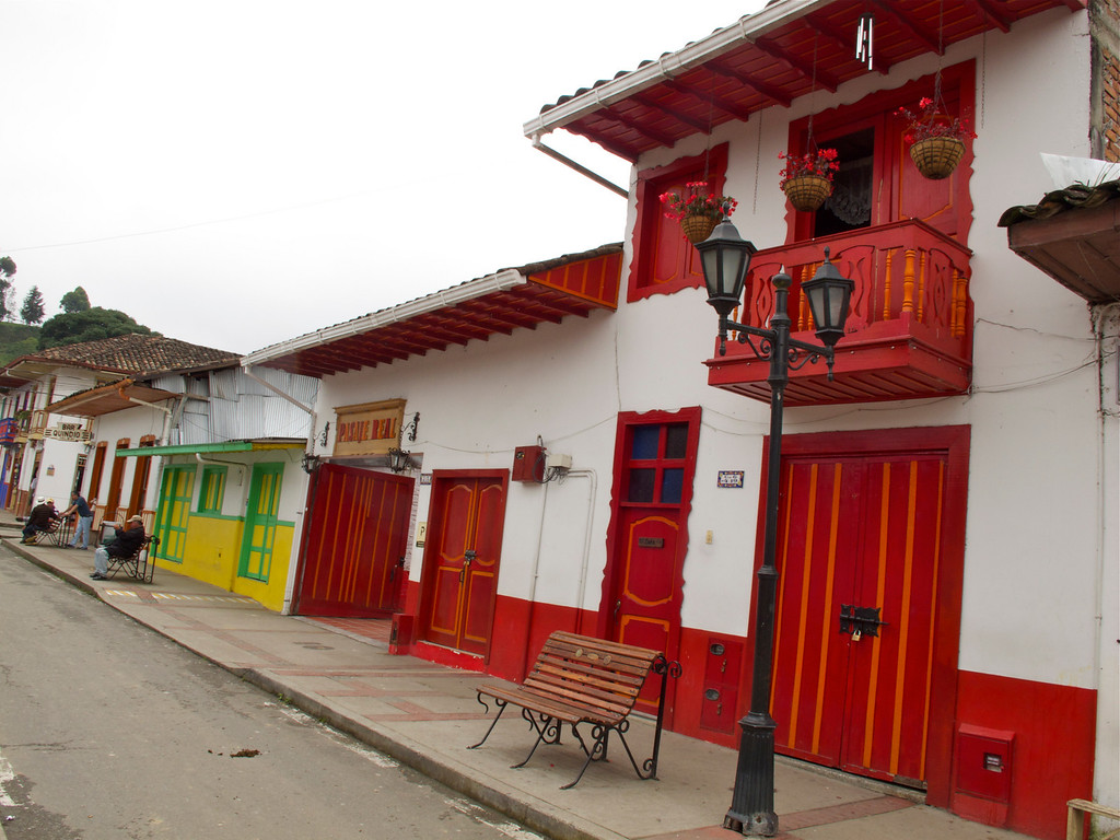A colorful street in Salento (Quindio), Colombia