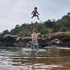 Ayla & Edwin playing in the river near Curití, Colombia