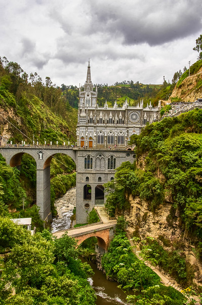 View of the Santuario de las Lajas in Colombia