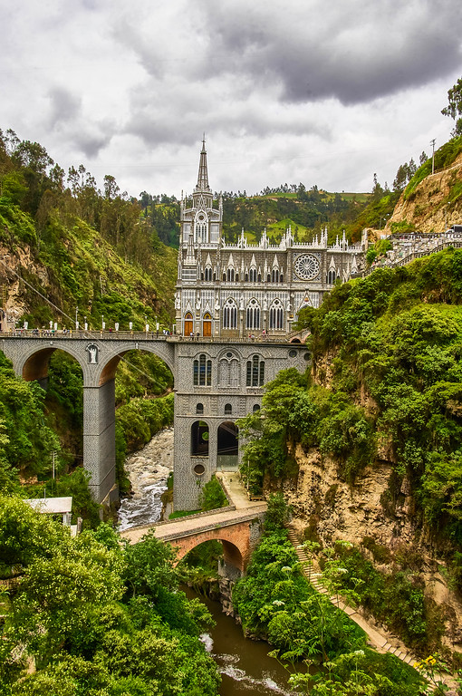 View of the Santuario de las Lajas in Colombia
