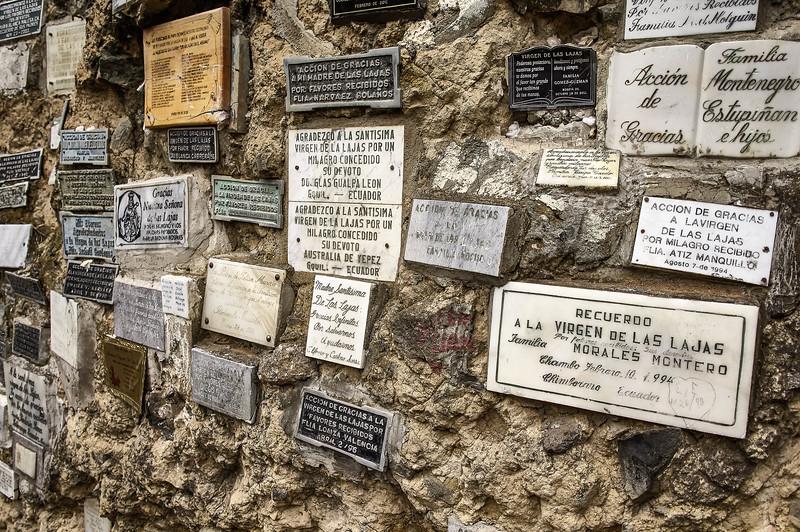 Entrance wall at the Santuario de las Lajas in Colombia