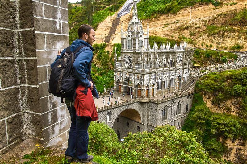 Edwin at the Santuario de las Lajas in Colombia
