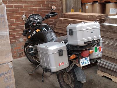 Kevins bike waiting in the warehouse