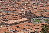 Cusco, Peru overview of city and Plaza de Armas with roof tops