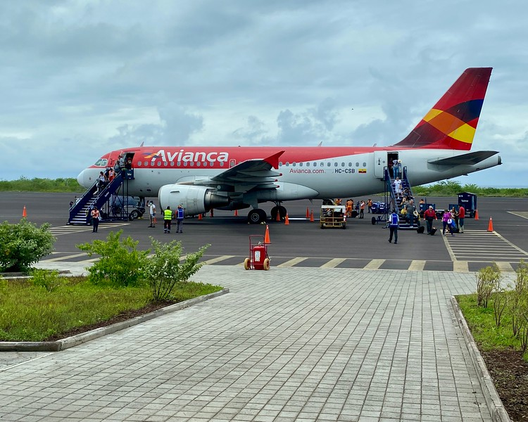 Our Avianca airplane, off loading arriving passengers