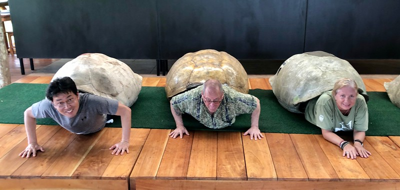 Kevin, Phil & Lourdes try on tortoise shells for size