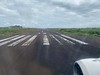 Turning onto the main runway for take off from SCY to GYE.