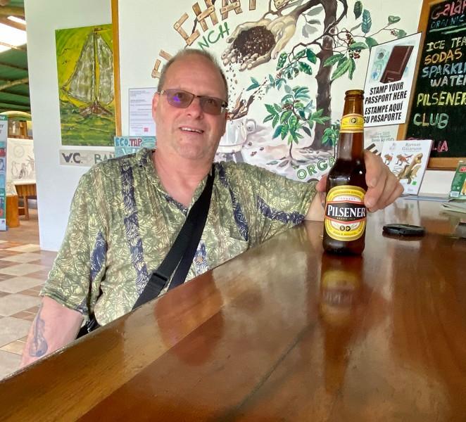 Phil enjoys a brew