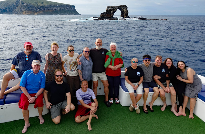 Galapagos Master 2020 dive group at Darwin's Arch, Galapagos, Ecuador.<br /> Arturo, Tom, Rachel, Stuart, Alicia, Ray, Phil M., Rich, Elaine, Lourdes, Kevin, Phil G., Merry & Sheri.  Where are Young & Kitty?