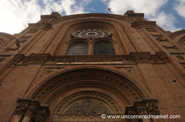 Looking Up at Cuenca's Immaculate Concepcion Cathedral - Ecuador
