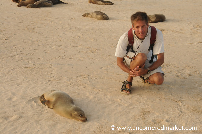 Baby Sea Lion with Dan - Galapagos Islands