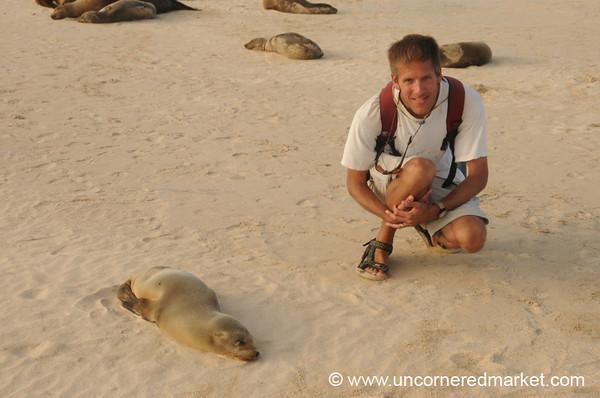 Baby Sea Lion with Dan - Galapagos Islands
