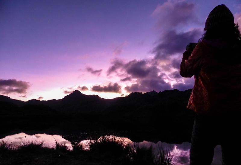 Sunset at El Cajas National Park in Ecuador