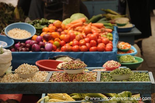 Nice Display of Beans and Peas - Otavalo Market, Ecuador