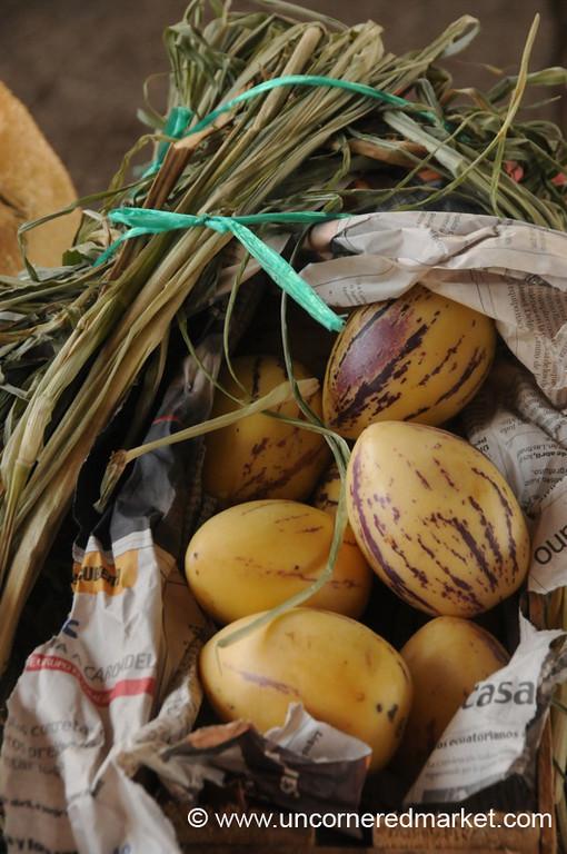 Basket of Pepino Dulce - Saquisili, Ecuador