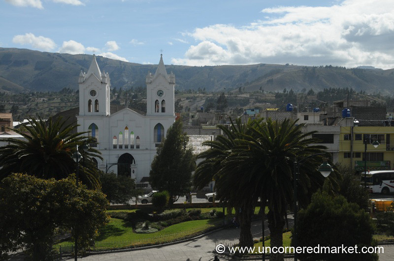 View of Saquisili's Cathedral and Plaza - Ecuador