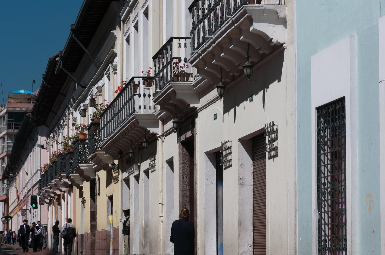Buildings with balcony in Quito, Ecuador
