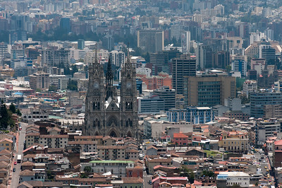 Basilica of the National Vow as seen from Quito skyline - Ecuador