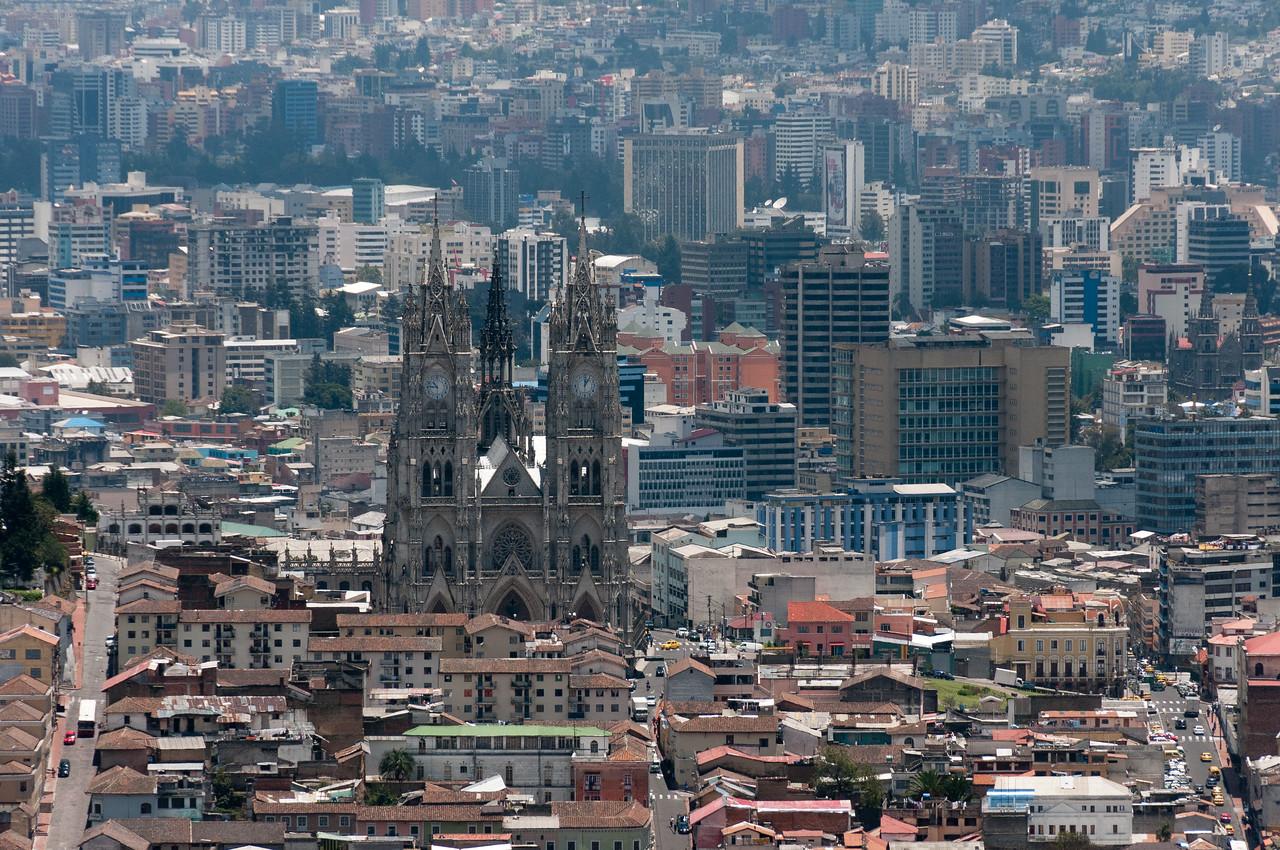 Basilica of the National Vow as seen from Quito skyline - Ecuador