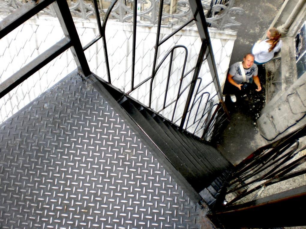 stairs in la basilica church quito ecuador