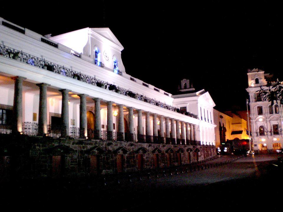 Ecuador's Government Palace At Night