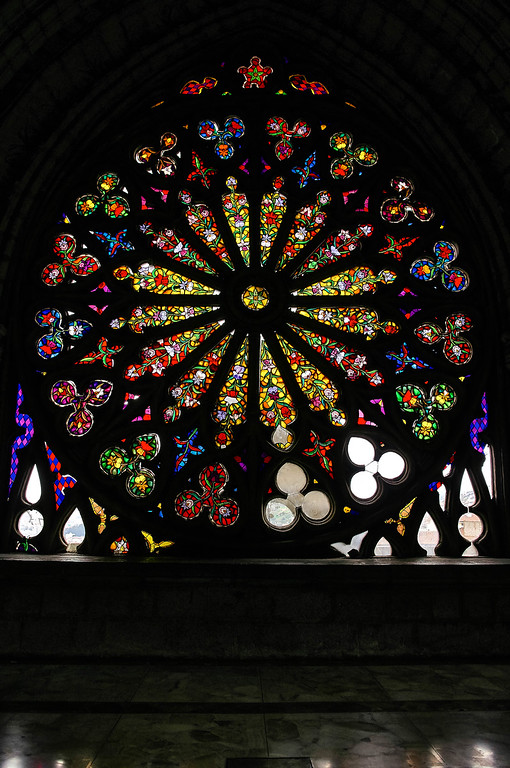 Rose window at the Basílica del Voto Nacional in Quito, Ecuador