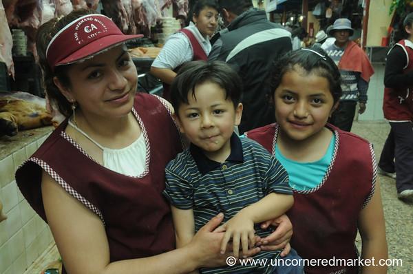 Family Portrat at the Market - Cuenca, Ecuador