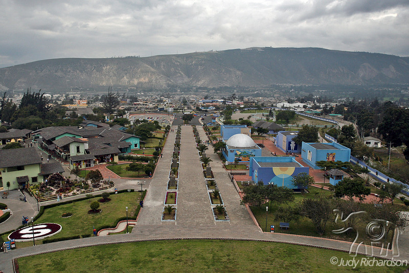 View from top of Mitad Del Mundo Monument at equator outside Quito, Ecuador