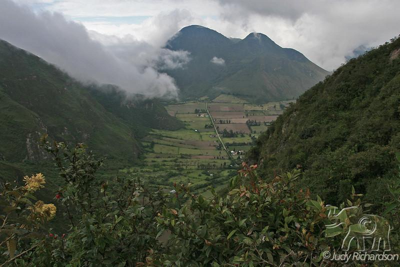View of Pululahua Volcano Crater~Ecuador outside El Crater Restaurant
