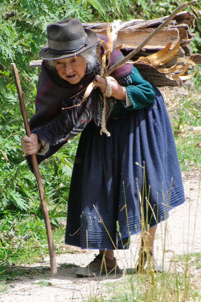 Ecuadorian Woman Carrying Firewood