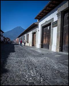 Antigua street, with Volcan Agua beyond
