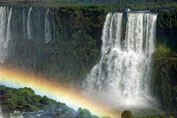 Rainbow and cataract at Iguazu Falls in Brazil