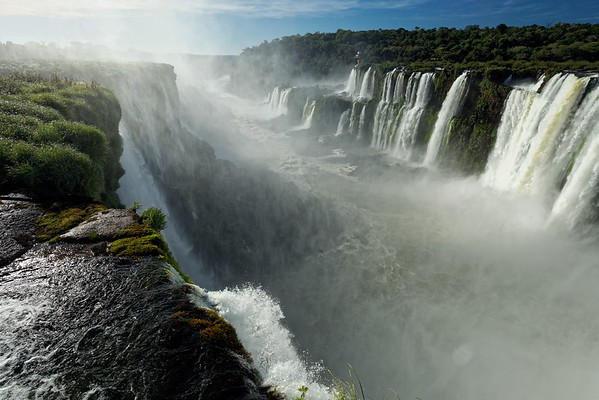 Looking over the precipice at the head of Iguazu Falls by the Devil's Throat, Argentina