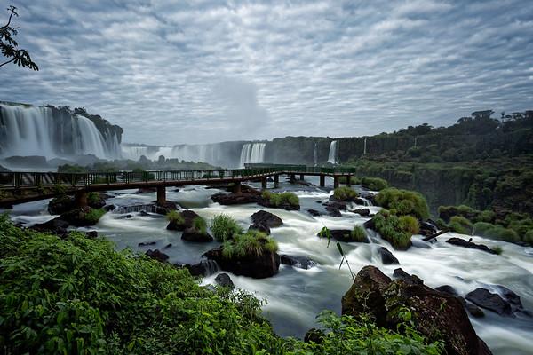 Viewing platform beneath Floriano Falls at Iguazu Falls in Brazil, dawn
