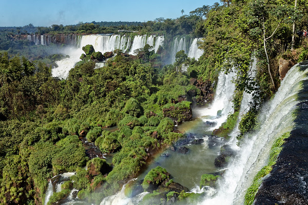 Wide angle view showing serious of cataracts on the Argentine side of Iguazu Falls