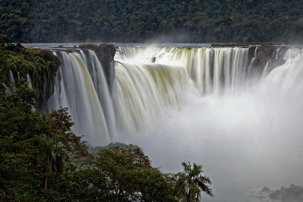 The Devil's Throat, Garganta do Diabo, at the head of Iguazu Falls in Brazil, early morning