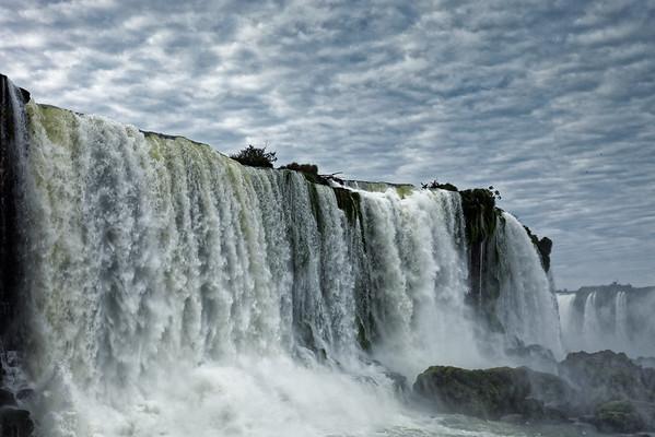 Close up view of Floriano Falls at Iguazu Falls in Brazil